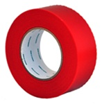 Red polyethylene tape with pinked edges for masking and protecting