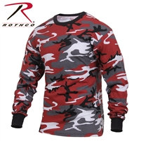 Rothco Long Sleeve Colored Camo T-Shirt - Red - 3XL