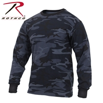 Rothco Long Sleeve Colored Camo T-Shirt - Midnight Blue - 3XL