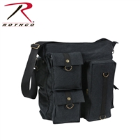 Rothco Vintage Multi Pocket Messenger Bag - Black