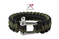Rothco Paracord Bracelet With D-Shackle - Olive / Black