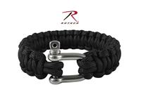 Rothco Paracord Bracelet With D-Shackle - Black