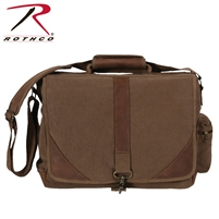 Rothco Vintage Canvas Urban Pioneer Laptop with Leather Accents - Brown