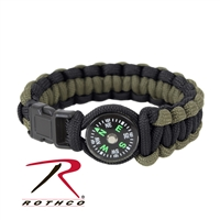 Rothco Paracord Compass Bracelet - Olive / Black
