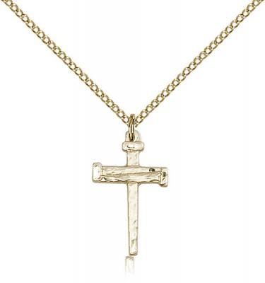 "Gold Filled Nail Cross Pendant, Gold Filled Lite Curb Chain, 3/4"" x 1/2"""