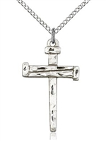 "Sterling Silver Nail Cross Pendant, Sterling Silver Lite Curb Chain, 1 1/8"" x 5/8"""