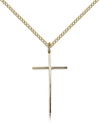 "Gold Filled Cross Pendant, Gold Filled Lite Curb Chain, 1"" x 1/2"""