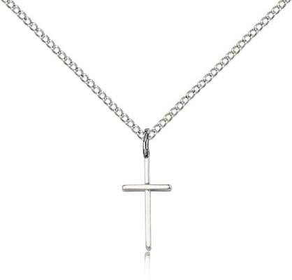 "Sterling Silver Cross Pendant, Sterling Silver Lite Curb Chain, 1/2"" x 1/4"""