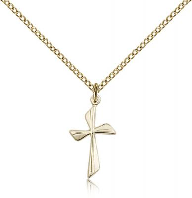 "Gold Filled Cross Pendant, Gold Filled Lite Curb Chain, 3/4"" x 3/8"""