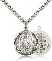 "Sterling Silver Miraculous Pendant, Stainless Silver Heavy Curb Chain, 7/8"" x 3/4"""