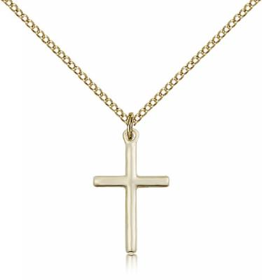 "Gold Filled Cross Pendant, Gold Filled Lite Curb Chain, 3/4"" x 1/2"""