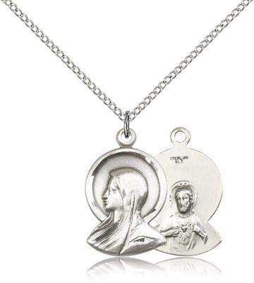 "Sterling Silver Madonna Pendant, Sterling Silver Lite Curb Chain, 7/8"" x 1/2"""