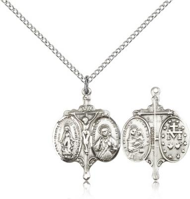 "Sterling Silver Novena Pendant, Sterling Silver Lite Curb Chain, 7/8"" x 5/8"""