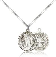 "Sterling Silver St. Benedict Pendant, Sterling Silver Lite Curb Chain, 3/4"" x 5/8"""
