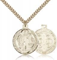 "Gold Filled St. Benedict Pendant, Stainless Gold Heavy Curb Chain, 1"" x 7/8"""