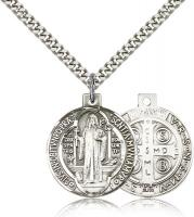 "Sterling Silver St. Benedict Pendant, Stainless Silver Heavy Curb Chain, 1"" x 7/8"""