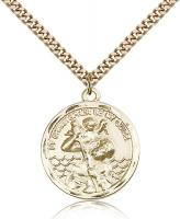 "Gold Filled St. Christopher Pendant, Stainless Gold Heavy Curb Chain, 1"" x 7/8"""