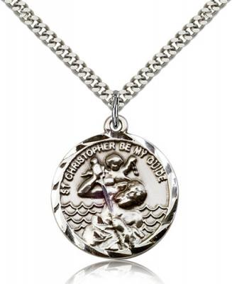 "Sterling Silver St. Christopher Pendant, Stainless Silver Heavy Curb Chain, 1"" x 7/8"""