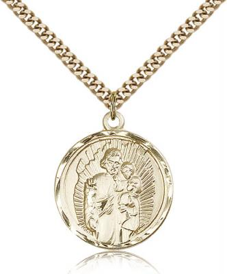 "Gold Filled St. Joseph Pendant, Stainless Gold Heavy Curb Chain, 1"" x 7/8"""