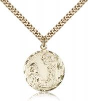 "Gold Filled St. Cecilia Pendant, Stainless Gold Heavy Curb Chain, 7/8"" x 3/4"""