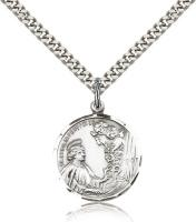 "Sterling Silver St. Cecilia Pendant, Stainless Silver Heavy Curb Chain, 7/8"" x 3/4"""