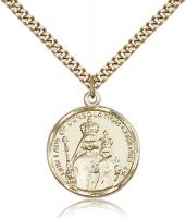 "Gold Filled Our Lady of Consolation Pendant, Stainless Gold Heavy Curb Chain, 1"" x 3/4"""