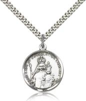 "Sterling Silver Our Lady of Consolation Pendant, Stainless Silver Heavy Curb Chain, 1"" x 3/4"""
