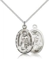 "Sterling Silver St. Peregrine Pendant, Sterling Silver Lite Curb Chain, 1"" x 5/8"""