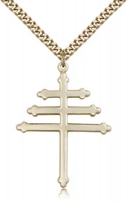 "Gold Filled Marionite Cross Pendant, Stainless Gold Heavy Curb Chain, 1 1/2"" x 1 1/8"""