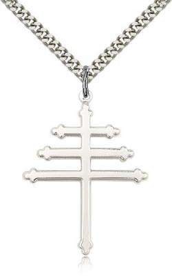 "Sterling Silver Marionite Cross Pendant, Stainless Silver Heavy Curb Chain, 1 1/2"" x 1 1/8"""