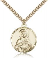 "Gold Filled Immaculate Heart of Mary Pendant, Stainless Gold Heavy Curb Chain, 1"" x 7/8"""