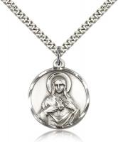 "Sterling Silver Immaculate Heart of Mary Pendant, Stainless Silver Heavy Curb Chain, 1"" x 7/8"""