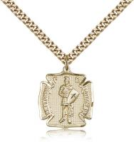 "Gold Filled St. Florian Pendant, Stainless Gold Heavy Curb Chain, 3/4"" x 5/8"""
