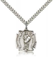 "Sterling Silver St. Florian Pendant, Stainless Silver Heavy Curb Chain, 3/4"" x 5/8"""