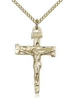 "Gold Filled Nail Crucifix Pendant, Gold Filled Lite Curb Chain, 1 1/8"" x 5/8"""