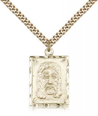 "Gold Filled Holy Face Pendant, Stainless Gold Heavy Curb Chain, 1"" x 5/8"""