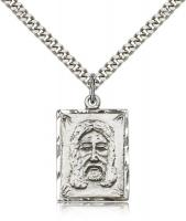 "Sterling Silver Holy Face Pendant, Stainless Silver Heavy Curb Chain, 1"" x 5/8"""