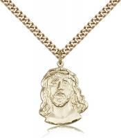 "Gold Filled ECCE Homo Pendant, SG Heavy Curb Chain, 7/8"" x 5/8"""
