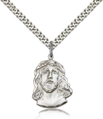 "Sterling Silver ECCE Homo Pendant, Stainless Silver Heavy Curb Chain, 7/8"" x 5/8"""