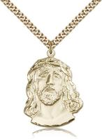 "Gold Filled Ecce Homo Pendant, Stainless Gold Heavy Curb Chain, 1 1/4"" x 7/8"""