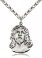 "Sterling Silver Ecce Homo Pendant, Stainless Silver Heavy Curb Chain, 1 1/4"" x 7/8"""