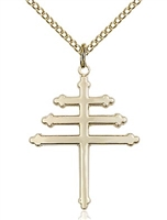 "Gold Filled Marionite Cross Pendant, Gold Filled Lite Curb Chain, 1"" x 3/4"""