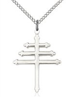 "Sterling Silver Marionite Cross Pendant, Sterling Silver Lite Curb Chain, 1"" x 3/4"""