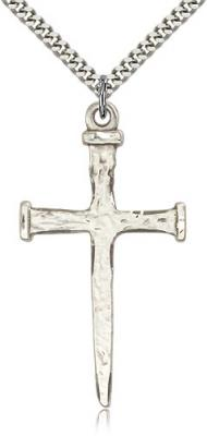 "Sterling Silver Nail Cross Pendant, Stainless Silver Heavy Curb Chain, 2"" x 1"""