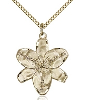 "Gold Filled Chastity Pendant, Gold Filled Lite Curb Chain, 7/8"" x 3/4"""