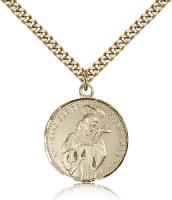 "Gold Filled St. Francis of Assisi Pendant, Stainless Gold Heavy Curb Chain, 7/8"" x 3/4"""