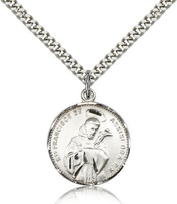 "Sterling Silver St. Francis of Assisi Pendant, Stainless Silver Heavy Curb Chain, 7/8"" x 3/4"""