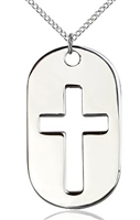 "Sterling Silver Cross Dog Tag Pendant, Sterling Silver Lite Curb Chain, 1 3/8"" x 3/4"""