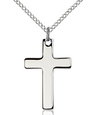 "Sterling Silver Cross Pendant, Sterling Silver Lite Curb Chain, 7/8"" x 1/2"""