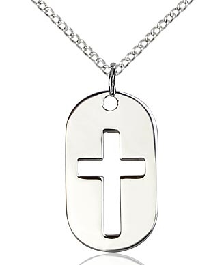 "Sterling Silver Cross Dog Tag Pendant, Sterling Silver Lite Curb Chain, 7/8"" x 1/2"""